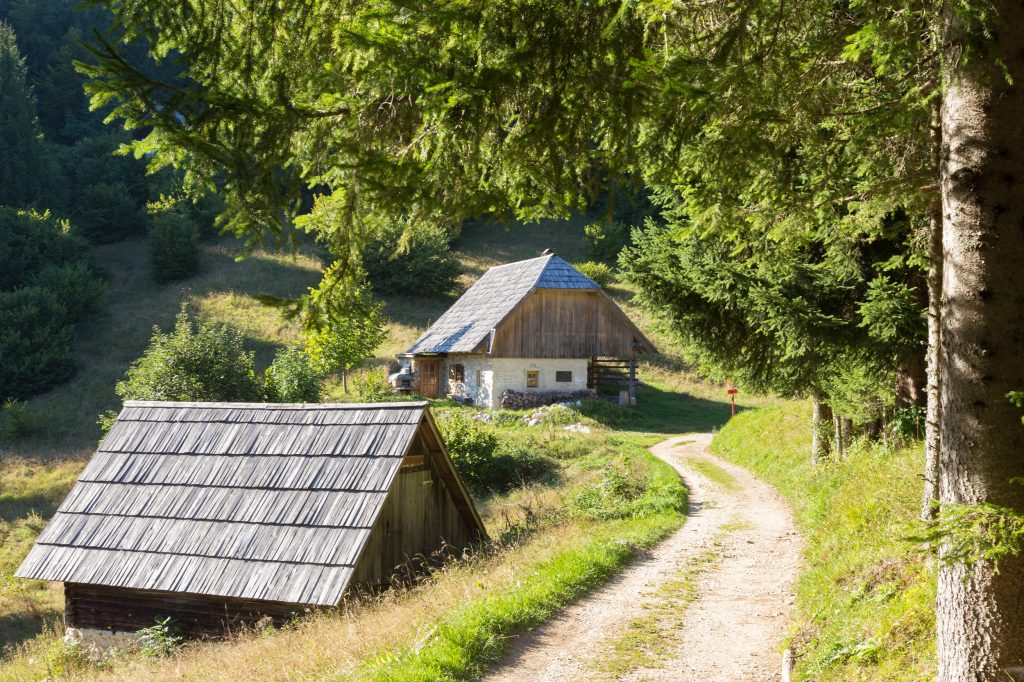 Traditional old wooden hut cabin